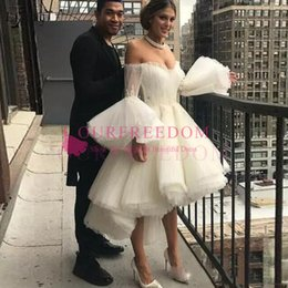 $enCountryForm.capitalKeyWord NZ - 2019 Fashion High Low Ankle Length Evening Dresses Flare Full Sleeves Off The Shoulder Lace Pleated Prom Gowns Robe De Soiree