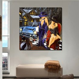 ladies ink Australia - Two Sexy Ladies Women With Hat Before Car Oil Painting Red Lips Girl Poster Painting On Canvas Bedroom Pictures Home Decor