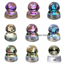 Wholesale Christmas Supplies 3D K9 Crystal Magic Ball LED Lamp Pokemens Series ikachu Gengar Jigglypuff Figrye Figures Toys Desktop Decoration Light