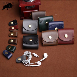 handmade leather coin purse wholesale NZ - ZYD-COOL Handmade Genuine Leather Coin Purses Headset Coin Headphones Purses Case Bag Pocket Wallets Key Holder Case