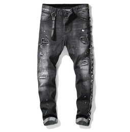 Jean washes online shopping - Unique Mens Ribbon Panelled Skinny Black Jeans Fashion Designer Slim Fit Washed Motocycle Denim Pants Patches Hip HOP Trousers