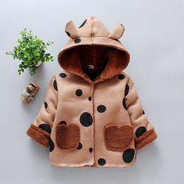 Deerskin coat online shopping - children s clothing spring and autumn new children s deerskin cartoon print dot and velvet girls coat