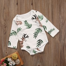 babies cotton costume romper NZ - Baby Girl Romper 2017 Newborn Infant baby Boys Girls Outfit Clothes Long Sleeve Cotton Leaf Deer Print Rompers Jumpsuit Costume