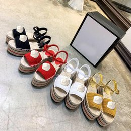 Thick sole sandals online shopping - Fisherman Shoes Designer sandals with thick soles Rattan grass linen Fashion casual sandals Metal buckled High heeled Sandy beach sandals