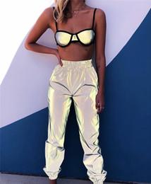 Wholesale elastic ankle pants women resale online – Reflective Ankle Banded Pants Fashion Women Elastic Waist Loose Cargo Pants Street Style Women Designer Pants