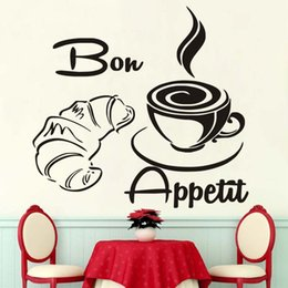 Large Wall Decor Australia - 1 Pcs Large Size Free Shipping Modern Coffee Croissant French Bon Appetit Kitchen Wall Stickers, Home Decor Art Wall Quotes