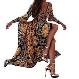 luxury print maxi dress Canada - Womens Bohemian Summer Long Sleeve Milk Fiber Maxi Dress Deep V-Neck High Waist Luxury Printing Split Beach Sundress