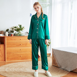 $enCountryForm.capitalKeyWord Australia - Green Summer Silky Sleep Pajamas Womens Strap Top Pants Suit Faux Silk Sleepwear Sets Casual Home Wear Nightwear Robe Bath Gown