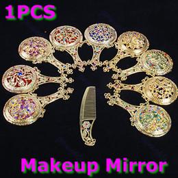Cosmetic Hair Combs Australia - Rhinestone Makeup Hollow Compact Pock Hand Held Pocket Mirror Hair Comb Cosmetic