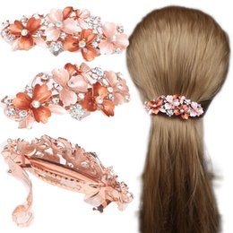 Painting Faces Australia - Lady Hair Ornaments Drip Oil Hairpin Hand Painted Water Drill Fashion Hollow Clip Fine Jewelry Headdress