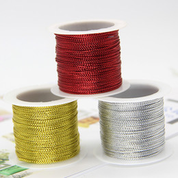 Wholesale Gifts Gold Wire NZ - 20M 1MM Gold Wire Rope Non Stretch DIY Gift Wrap Ribbon Metallic Tag Jewelry Making Rope Christmas Craft Making Cord