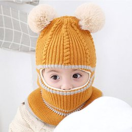 baby boy skull crochet beanies UK - Baby Hat Scarf One-pieces Baby Boys Girl Pompon Hats for Kids Winter Warm Knit Crochet Beanie Cap Scarf Children Caps 2-5Y