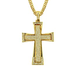 heart stereos Australia - Hip-hop Stereo Diamond Two-Tone Cross Pendant Mens Necklace
