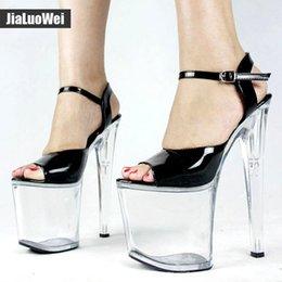 3ca20040035 20cm Ultra high heel +9cm platform sandals Women Transparent Clear Sandals  Open toe Ankle Strap Buckle Shoe Sexual pole dance Shoes