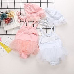 $enCountryForm.capitalKeyWord Australia - 2019 Infant Baby Kids Girls Swimsuit Angle Wing Lace Suspender Rompers One-piece Swimsuit with Cap Girl Childrens Swimwear 15052