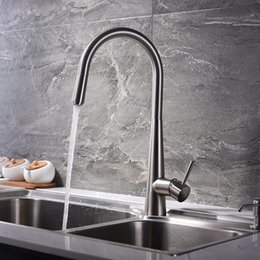 Nickel Kitchen Taps Australia - Pull Out Kitchen Faucets Deck Mounted Brassl Kitchen Sink Faucet Hot Cold Mixer Taps Brushed Water Tap Single Handle