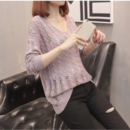 Wholesale sexy pink sweaters resale online - 6 Colors Autumn Loose Hollow Out Batwing Sleeve Knitted Sweater Sexy Backless Lace Up Knitting Pullover