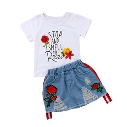 girls ripped shirts UK - Floral T-shirt Tops Denim Rip Embroidery Flower Skirt Summer Fashion Clothes 2PCS Princess Child Kids Baby Girls Outfits 1-6T