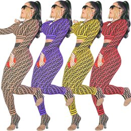 Knit Suits Wholesales Australia - S-3XL F letter knit Sweat Suit Long Sleeve Designer Tracksuit Knitting Pullover Crop Sweatshirt Hoodie + Pants Joggers Set Outfit Plus Size