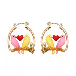Wholesale 2019 Amybaby Designer Enamel Glaze Colorful Love Canary Flower Womens Stud Hoops Earring Jewlery For Party