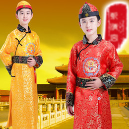 Boy Chinese Suit Australia - Red Yellow Childs Costume Chinese Tang Hanfu Dress Boys Emperor King Stage Clothes Costumes Tang Suit Kids Robe+Hat Set DWY1315