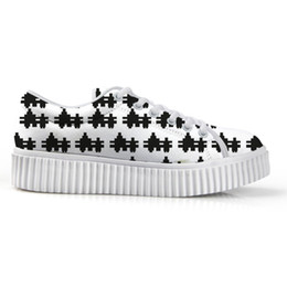 5704c2f4b Fashion Black and White Checkered Pattern Women Flat Platform Shoes Female  Creepers Flats Lace-up Shoes for Students