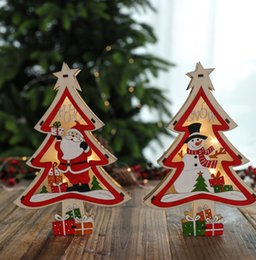 shop window lighting NZ - New Christmas Decorations Colored Light Wooden Christmas Tree Decoration shopping mall Window LED lights ornaments Decoration