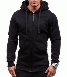 male gym clothes UK - GYM 2019 New Leisure Sanitary Clothing Zipper Hat Sanitary Clothing Overcoat Male Pure Color Open Hoodie Shirt