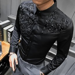 Wholesale best hip hop dressing for sale – custom 2020 spring New Best Korean fashion personality long sleeved streetwear embroidered floral shirt hip hop