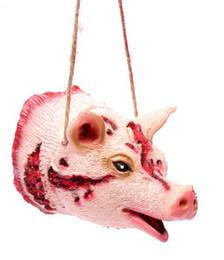 $enCountryForm.capitalKeyWord Australia - Happy Halloween Fake Bloody Pig Head Animal Shape Bat Rat Spider Pendant Necklace terrible Props Ghost House Hanging Decoration event supply