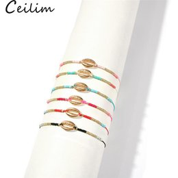 Rice shells online shopping - Handmade Rope Bead Braided Bracelets Gold Sea Shell Bracelet New Arrival Colorful Natural Rice Bead Bangles for Women Summer Beach Jewelry