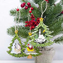 $enCountryForm.capitalKeyWord Australia - 1PC New Tree Shape Christmas Wooden Pendants Wood Chip Tree Ornaments Xmas Hanging Pendant For Home Window Shopping Mall Decor