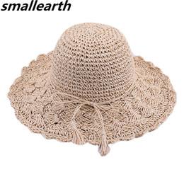 $enCountryForm.capitalKeyWord UK - New Summer Sun Hats For Women Handmade Crochet Straw Hat Girl Foldable Sun Hats Wide Brim Visor Caps Female Ribbon Beach Cap