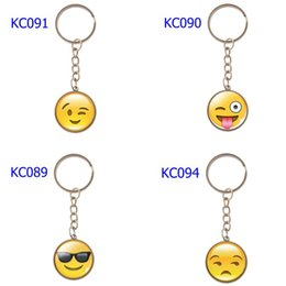 Car Ball Games Australia - 74 Styles 2 Colors Keychains Various Smiley Face Expression Car Keychains Time Gem Single Side Cartoon Games Keychain Mix Order
