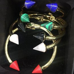 black gold agates NZ - 2019 European and American style couple charm bracelet double arrow agate bracelet 18K gold ladies black red pink green blue ladies bracelet