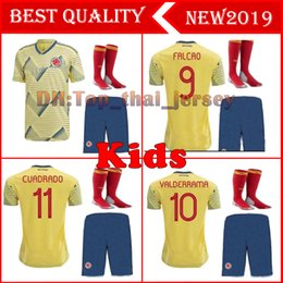 falcao jersey colombia NZ - KIDS 2019 Colombia soccer jerseys America's Cup colombia football shirt JAMES Rodriguez Camiseta de futbol FALCAO CUADRADO maillot de foot