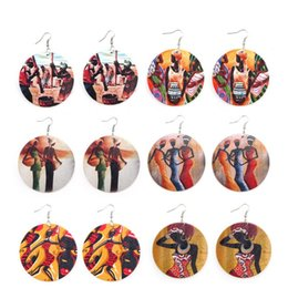 $enCountryForm.capitalKeyWord Australia - Fashion Round Wooden Earrings Printed Africa Female Heads Portrait Ear Hooked Colorful Dangle Charm Pendant Eardrop Jewelry Party Gifts