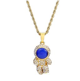 gold iced out NZ - 18k Gold CZ Blue Ruby Astronaut Pendant Necklace Iced Out Space Man Pendant Hip Hop Jewelry for Men Women