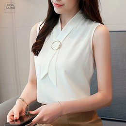 Wholesale korean women formal shirts for sale – plus size Women Summer Tops And Blouse Sleeveless Elegant Chiffon Solid Fashion Ladies Top Vest Korean Female Clothing Sleeveless Shirt