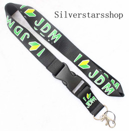 $enCountryForm.capitalKeyWord Australia - Automobile wind JDM Lanyard Keychain Key Chain ID Badge cell phone holder Neck Strap black and green.