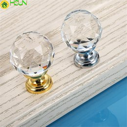 Crystal Pull Cabinet Handles Australia - 1pc Crystal Glass Ball Cabinet Pulls Gold silver Base Drawer Door Handles For Furniture Kitchen Accessories Pull Knobs