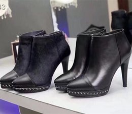 $enCountryForm.capitalKeyWord NZ - Free shipping 2018 pointed toe chain high heel platform pumps genuine leather sexy horse hair ankle boots