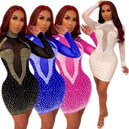 $enCountryForm.capitalKeyWord Australia - women Night Club Dresses Mini Dresses Sexy Rhinestone Bodycon Sheer Dresses Fall Long Sleeve Zipper High Neck Fashion Hot Selling 1031