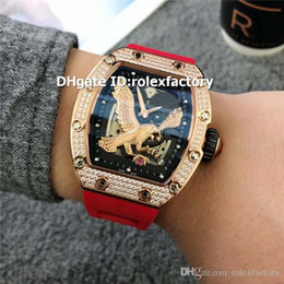 $enCountryForm.capitalKeyWord NZ - New Luxury 23-02 Eagle Watch Rose Gold Diamond Case Swiss 6T51 Automatic Sapphire Black Skeleton Dial Red Rubber Strap 3 Colors Mens Watch