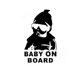 $enCountryForm.capitalKeyWord NZ - 14*9CM BABY ON BOARD Cool Rear Reflective Sunglasses Child Car Stickers Warning Decals Black Silver CT-465 wholesale