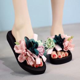 $enCountryForm.capitalKeyWord Australia - Womens Slippers Fashion Flower DIY personalized Flip Flops Beach Platform Sandals Wedges Shoes size 33-42 LOW heel