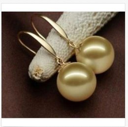 new 8//10//12//14//16MM White Round South Sea Shell Pearl 14K Gold Plated Earring