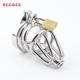 Male Insert Toy UK - Male Penis Metal Lock,Stainless Steel Chastity Cage with Urethral Insert,small Novelty Cage with Anti Slip Ring