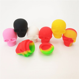 $enCountryForm.capitalKeyWord NZ - 50pcs lot 3ml skull containers assorted color silicone container for Dabs Round Shape Silicone Containers wax Silicone Jars Dab containers