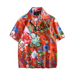 0bc96bfe 2019 Leaf Floral Print Hawaiian Shirt Casual Streetwear Tropical Beach  Men's Shirts Summer Short Sleeve Loose Red Party Tee Tops